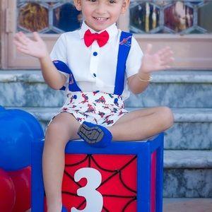 Ittybitty Spider-Man suspender short set